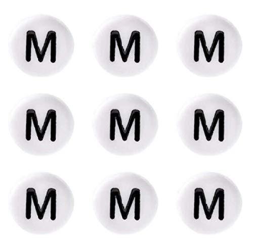 Sadingo Cuentas redondas de acrílico blanco y negro, 50 unidades, 7 mm, agujero de aprox. 1 mm, para pulseras de letras, manualidades, joyas, letra: M