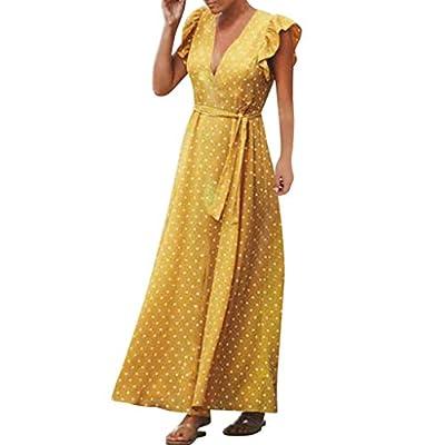 JustWin Ladies Bohemian Dot Print Party Dress Ruffle Sleeveless V-Neck Party Sundress Casual Swing Summer Dress