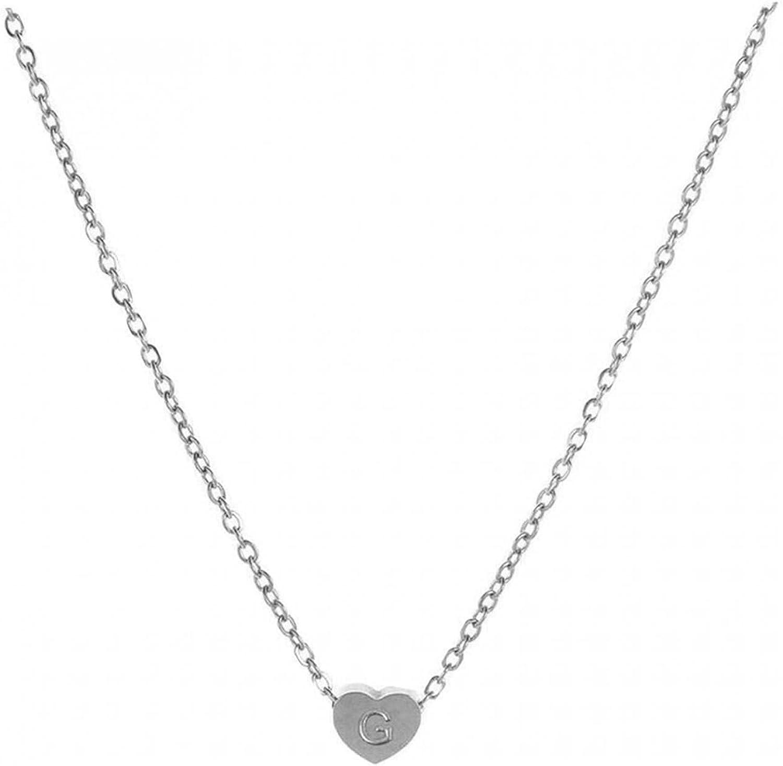 WEIBM Collar de letra de corazón de moda para mujer, cadena de cuello de clavícula de 26 letras de amor
