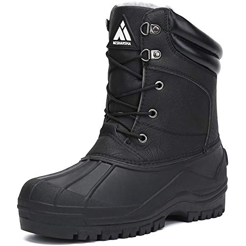 Mens Insulated Waterproof Hiking Snow Boots Warm Mid Calf Winter Boot Outdoor Cold Weather Work Boot Shoes Non Slip Black 8