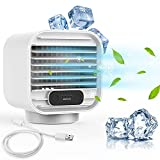 MORIOX USB Desktop Water Cooler Fan, Evaporative Desk Cooling Fan Air Circulation for with 3-speed 2000mAh Battery Mini Portable AC & Humidifier for Home Office Kitchen Room