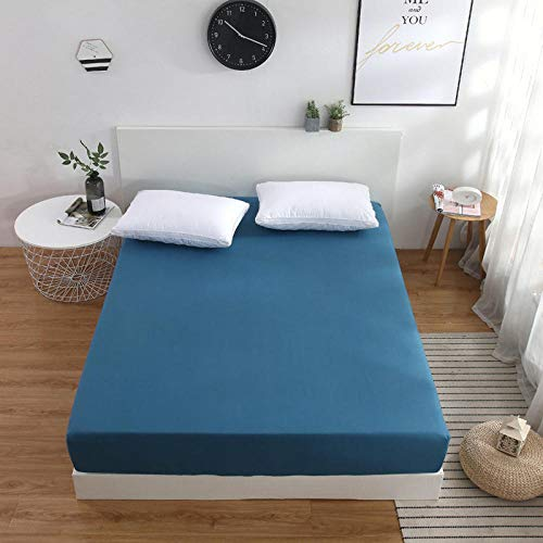 N / A Queen Sheet Set,Non-slip mattress protection cover, king bed cover, apartment fitted sheets-Blue_A_200×220cm