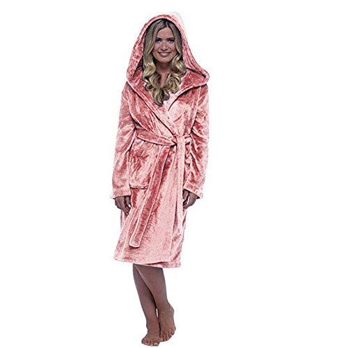 GYPPG Batas de Lana para Mujer, Bata de baño Larga de Felpa Suave hasta la Rodilla, Batas de Kimono Gruesas de Invierno para Mujer, Abrigo de casa cálido