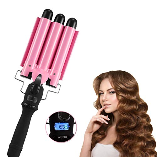 3 Barrels Curler, Three Barrel Hair Waver Curling Iron Wand with LCD Display Adjustable Temperature, 1 Inch Tourmaline Ceramic Curler, Beach Curly Tongs Crimpers Styling Tools for Large Waves (25mm)