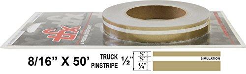 """Universal TFX 00083098 - Auto Customizing Dual Pinstripe - 8/16' x 50' (1/4"""" Stripe, 1/8' Gap, Then 1/8"""" Stripe) - 098-Autumn Gold Metallic"""