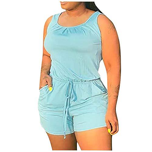 Kecar Jumpsuit Rompers for Women, Women Casual Home Solid Sleeveless Bandage Vest Home Easy Shorts Jumpsuit, Women Pants (Blue 4XL)