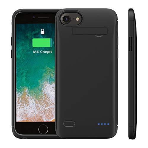 WELUV Akku Hülle 4000mAh Ladehülle F.iPhone 6 6S 7 8 SE 2020 Batterie Akku Case Ultra-Dünn ladehuelle Handyhülle Schutzhülle Backup Charging Cover Schwarz Geschenk 2020