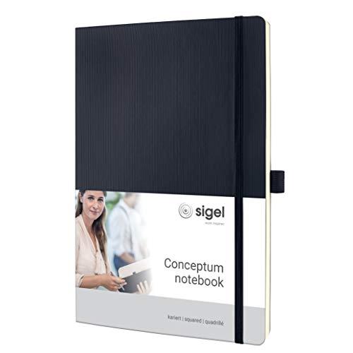 Sigel CO310 Notizbuch Large, ähnlich A4, kariert, Softcover, schwarz, 194 Seiten, Conceptum - weitere Farben, schwarz ca. a4