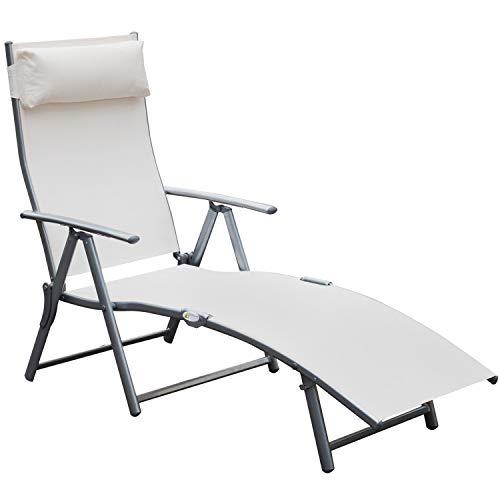 Outsunny Sonnenliege Strandliege Gartenliege Relaxliege klappbar mit Kissen Strand Metall + Stoff Cremeweiß 137 x 63,5 x 100,5 cm