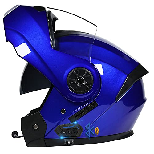 Casco Modulare Bluetooth, Casco da Moto Integrato Omologato ECE, Casco Modulare con Doppia Visiera, Traspirante E Confortevole, per Adulti, Donne E Uomini