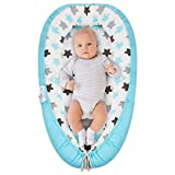 Baby Lounger, Baby Nest and Baby Bassinet, Portable Ultra Soft Breathable Newborn Lounger Crib, Perfect for Co-Sleeping and Traveling (Blue Star)