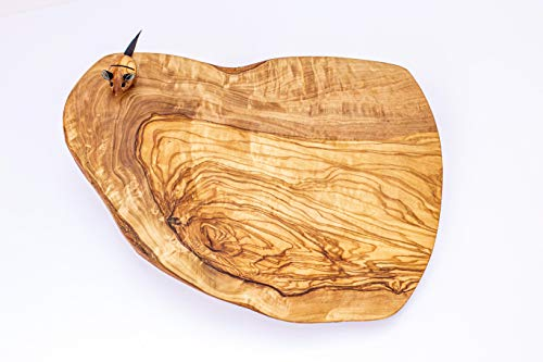 Hand Made Olive Wood Cutting Board  Rustic Olive Wood Cheese Platter with Mouse knife holder Knife NOT included Hand Crafted in Italy by Arte Legno Spello