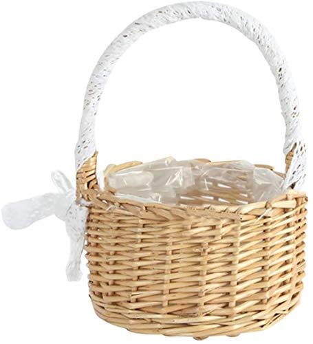 fly away Cesta de almacenamiento tejida con asas, cesta de Pascua para boda, flores, niña, cesta de mimbre para la colada