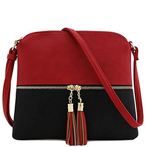 Bfmyxgs Mother es Day Messenger Bag für Frauen Leder Tassel Crossbody Bag Hit Color Shoulder Bag Totes Handtaschen Schultertaschen Rucksack Totes...