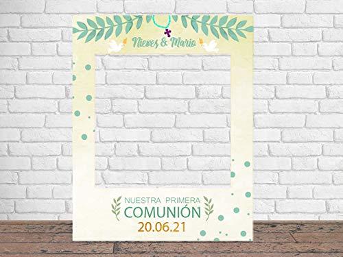 Photocall Mi Primera Comunión Mellizos 80 x100 cm | Regalos para Bautizos | Photocall Económico y Original | Ideas para Regalos | Regalos Personalizados de Comunión