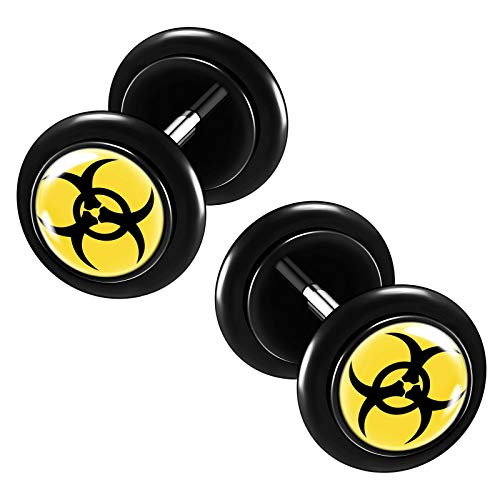 KJM FASHION 2PCS Acrylic Black 16g 1.2mm 5/16 8mm Black bio Hazard Logo Fake Gauge Ear Plug Cheater Lobe Earring Piercing Jewelry 5550
