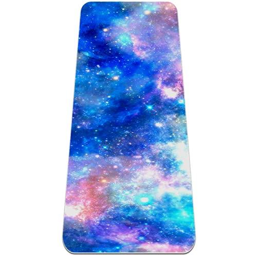 Alfombrilla de yoga de unicornio Galaxy Starry Sky extra gruesa, respetuosa con el medio ambiente, antideslizante, para todo tipo de yoga, pilates y ejercicios de piso, 183 x 61 cm