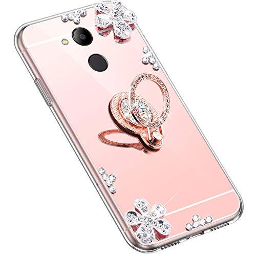 Uposao Kompatibel mit Huawei Honor 6C Pro Hülle Glitzer Diamant Glänzend Strass Spiegel Mirror Handyhülle mit Handy Ring Ständer Schutzhülle Transparent TPU Silikon Hülle Tasche,Rose Gold