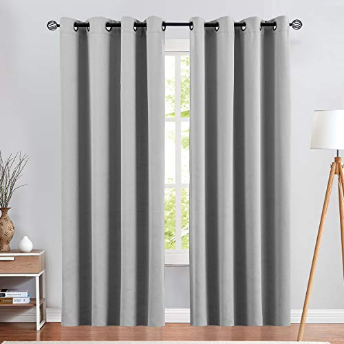 Vangao Blackout Curtains for Bedroom Living Room Darkening Curtains 84 Inch Long Thermal Insluated Black Out Drapes Noice Ruducing Triple Weave Window Treatment Panels Grommet Top 2 Panels Grey