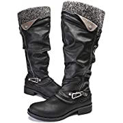 gracosy Leather Knee Boots, Women's Knee High Boot Flat Heel Zipper Buckle Riding Boots