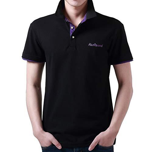 Tyoby Sommer Herren Poloshirt Kurzarm Basic T-Shirt Freizeit Briefdruck spleißen Polohemd(K,XXL)