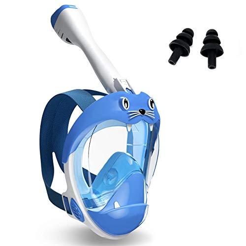 Buluri Máscara de buceo de cara completa para niños, máscara de esnórquel con parte superior seca, juego de esnórquel de 180°, amplio campo de visión, respiración libre, bonito diseño para niños