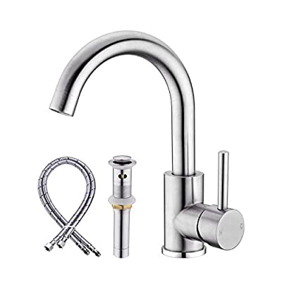 Anpean Single Handle Bathroom Sink Faucet One Hole with Pop-Up Drain and Water Supply Lines, Brushed Nickel