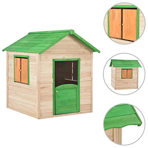 vidaXL Tannenholz Kinderspielhaus mit 2 Fenstern Spielhaus Kinderhaus Gartenhaus Holzhaus Holzspielhaus Kinder Spiel Haus Garten Grün 107x128x128 cm