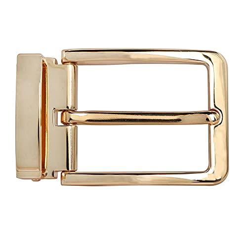 BIGHAS ピン式 ベルト 3.5cm バックル 単品 本革 メンズ ベルト サイズ調整可能 ビジネス カジュアル兼用 バックルのみ ベルトのみ 交換用 箱付き (バックル, 024金)