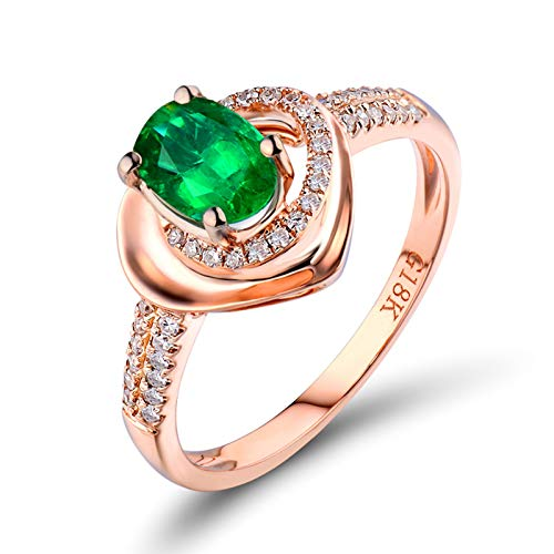 AmDxD 18K Gold Rings for Women Real Gold, Mom Valentine Ring Heart Shape 0.45ct Oval Cut Green Emerald with 0.16ct Diamond, Rose Gold Size J 1/2