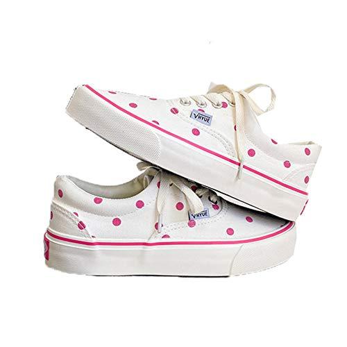 Zapatos de Lona para Mujer, Zapatillas con Cordones a Rayas Antideslizantes, Zapatos vulcanizados Suaves de Estilo Dulce y bajo, Zapatos Casuales
