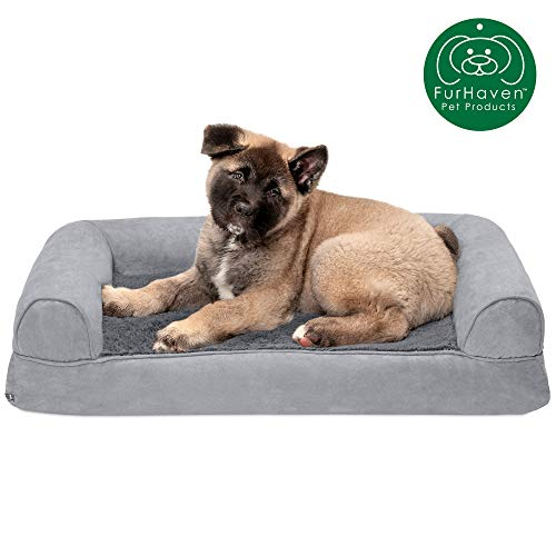 Furhaven Pet Dog Bed | Memory Foam Ultra Plush Faux Fur & Suede Traditional Sofa-Style Living Room Couch Pet Bed w/ Removable Cover for Dogs & Cats, Gray, Medium