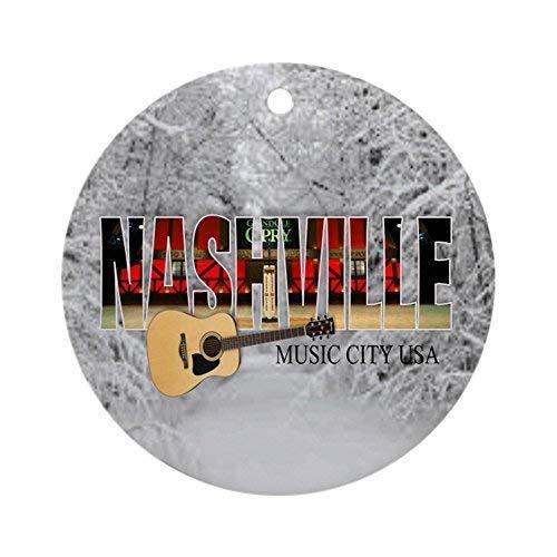 Lplpol Nashville Music City-CO1 Christmas Ornament Christmas Ornament, Ceramic Porcelain Round Xmas Tree Hanging Ornament Keepsake 3 Inch, Vo353