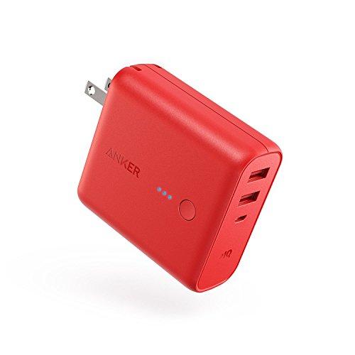 Anker PowerCore Fusion 5000 (モバイルバッテリー 搭載 USB充電器 5000mAh) 【PSE技術基準適合/コンセント 一体型/PowerIQ搭載/折りたたみ式プラグ】 iPhone iPad Android各種対応 (レッド)