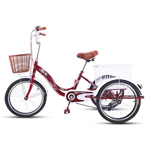 OFFA Triciclo Adulto Bicicleta para Mujer para Mujeres Mayores, Bicicletas De 20 Pulgadas De 3 Ruedas con Cesta De Compras De Carga, Tres Ruedas Crucero Bicicleta Asiento Y Manillar (Color : Red)