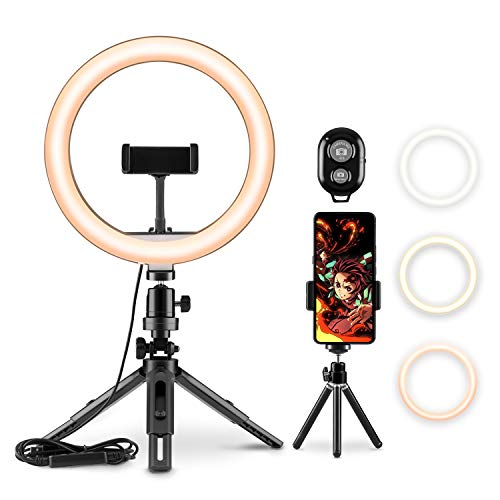 LEDリングライト Dothnix 外径 9インチ USBライト 3色モード付き 撮影照明用ライト 卓上ライト Bluetoothリモコン 高輝度LED スマホスタンド付き 10段階調光 美容化粧 YouTube生放送 ビデオカメラ撮影用