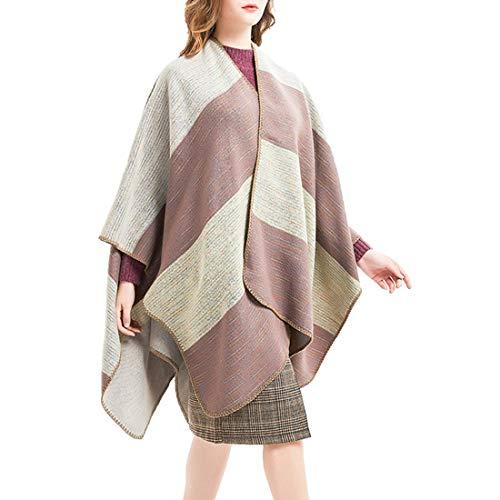 FENXIMEI breed gestreepte poncho cape deken met open voorkant, sjaals en wikkel.