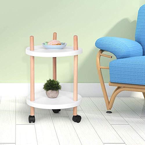 Dljyy Multifunctionele houten rolwagen, rond, wit, bijzettafel, trolley-opslag-organizer voor keuken, badkamer, slaapkamer, ruimte, 15 x 24 inch