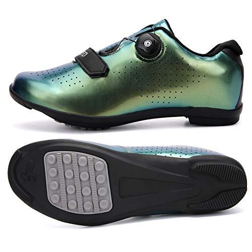 KUXUAN Zapatos de ciclismo para hombre con zapata Peloton compatible con Spd y Delta Lock Pedal Bike Shoestring, Green2-5UK = (240 mm) = 38EU