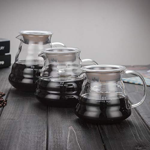 Best Quality - Coffee Pots - 360ml 600ml 800ml V60 Pour Over Glass Range Coffee Server Carafe Drip Coffee Pot Coffee Kettle Brewer Barista Percolator Clear - by Tini - 1 PCs