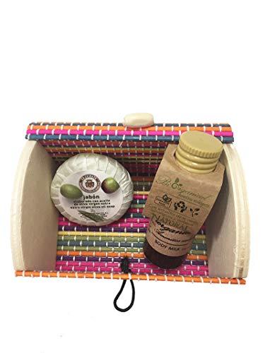 Detalle eventos mini body milk 30 ml y jabón 20 gr con cofre de colores