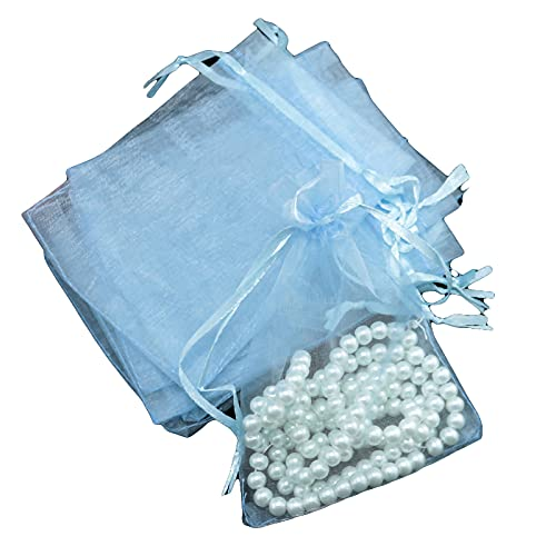 Nicoone 100 bolsas de regalo de organza con cordón transparente para joyas, bolsas de regalo de joyas, bolsa de caramelos, con cordón para bodas, regalos