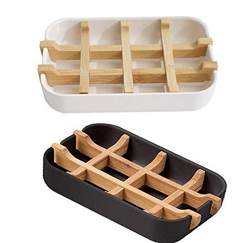 BOYATONG 2 Stück Natürliche Seifenkiste,Seifenschale Holz Mit Abtropfschale Bambus Seifengitter,Naturholz Seifenablage,Seifenschale Dusche Bambus Mit Abtropfschale