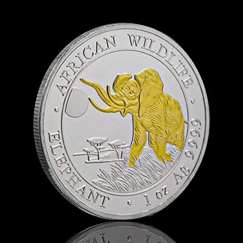 QIANLUOC Gold Silber Somali Wildlife Elefant Tiermünzen Souvenirs Medaille Sammlermünze Antikes Geschenk