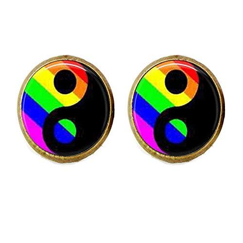 LGBT Gemelos de orgullo gay Ying Yang, regalo de amigos, arte vintage, joyería hecha a mano
