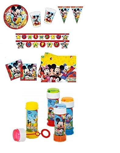 Kit per Feste E Compleanno Topolino 24 Persone - Topolino con Bolle di Sapone Party Coordinato TAVOLA Feste Compleanni ADDOBBI