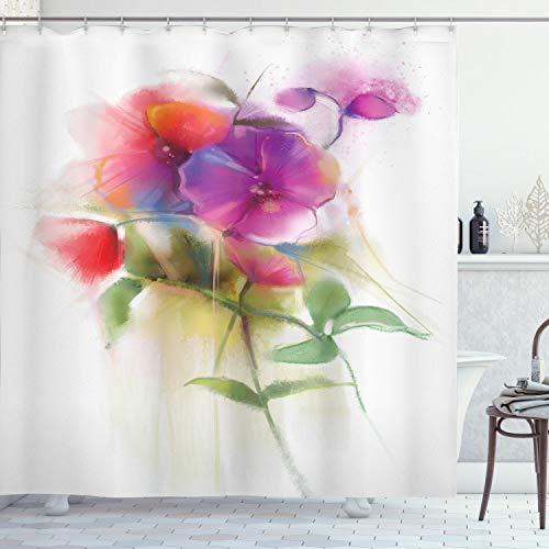 ABAKUHAUS Blume Duschvorhang, Blühende Orchidee Pastell, mit 12 Ringe Set Wasserdicht Stielvoll Modern Farbfest & Schimmel Resistent, 175x200 cm, Mehrfarbig