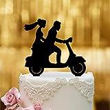 Decoración para tarta de Vespa con pareja de novios – Cristal acrílico negro – para la tarta de boda...