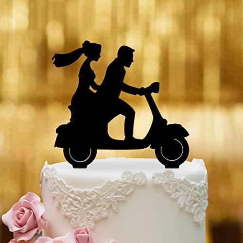 Decoración para tarta de Vespa con pareja de novios – Cristal acrílico negro – para la tarta de boda – Decoración para tarta, figura para tarta de boda, decoración para tartas, Mr Mrs, Roller, Vespa