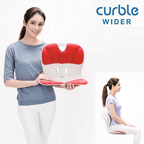 Burbach + Goetz Curble Wider Premium Rot, Sitz mit Rückenschale & Polsterung, gesunde Sitzkorrektur Positionierung im Büro, HomeOffice zu Hause, Freizeit